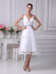 tea length wedding dresses uk miureall a line v neck tea length wedding dress with trimmed