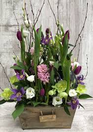 flowers arrangement garden flower arrangement in a wooden trough erica berry