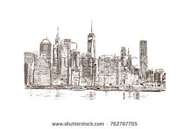 sketch cityscape skyline show building downtown stock illustration