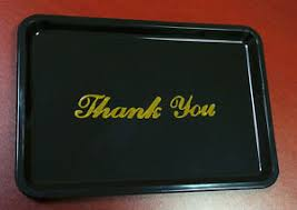 guest check tray black thank you tip tray with gold lettering restaurant guest bill