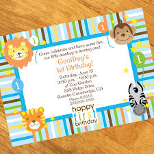 1st birthday zoo personalized invitations