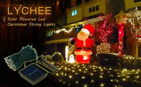 amazon com lychee solar powered string light 55ft 17m 100 led