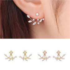 earring jackets for studs new fashion silver color zircon stud earrings for women ear jacket