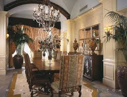 mediterranean dining room with chandelier by marc michaels
