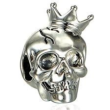 silver skull with crown charm bead pandora compatible charms