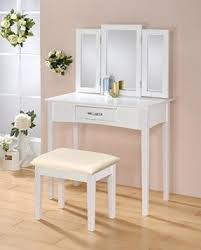 Bobkona St Croix Collection Vanity Set With Stool White White Vanity Table With Mirror Foter