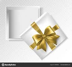 silver boxes with bows on top white gift box with gold ribbon and bow top view vector