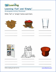 free preschool u0026 kindergarten full and empty worksheets