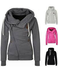 incredible deal on women sports side zipper hooded sweater jacket