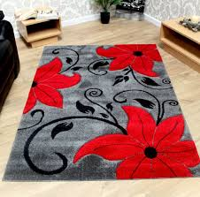 flower area rugs grey black and red modern tulip pattern flower rug sold with a