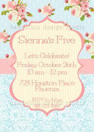printable custom invitation blue shabby chic party