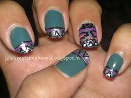 4 different nail looks lead you to aztec nail art