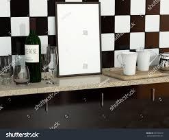 Empty Kitchen Vintage Kitchen Interior Wine Bottle Glasses Stock Illustration