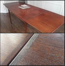 how to refinish veneer table what i think is a teak veneer table top