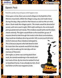 spook fest free reading comprehension worksheets for kids