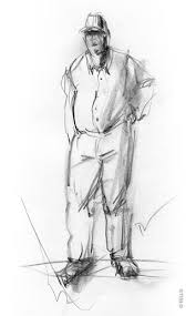 the daily sketch duane eells man standing with cap pencil sketch