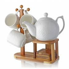 teapot set august grove 10 ceramic and wood laced teapot set
