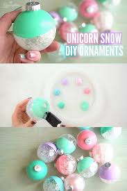 unicorn snow filled ornament craft rosyscription