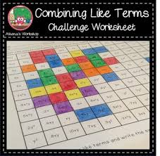 combining like terms challenge coloring activity freebie by