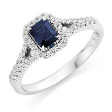 images of diamond rings 18ct white gold diamond and sapphire cluster ring 0000171