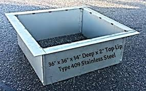 Firepit Insert 36 Square Stainless Steel Metal Pit Liner Insert