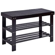 Shoerack Bench Amazon Com Costway Shoe Rack Bench 3 Tier Bamboo Shelf Flat