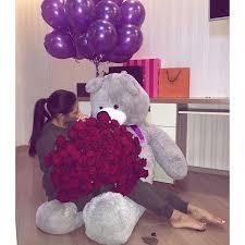 bae flowers and balloon at fleeky purple