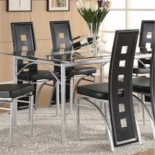 Silver Dining Room Set by Coaster Furniture 101681 Los Feliz Metal Dining Table In Silver