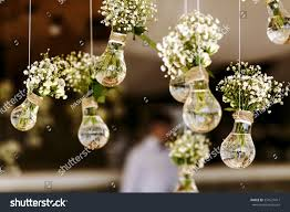 original wedding floral decoration form minivases stock photo