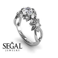 flower engagement rings unique flower engagement ring diamond ring 14k white gold flowers
