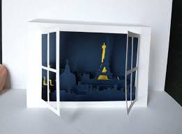 window on paris pop up card template from kirigami ideas