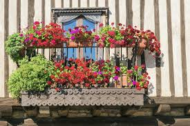 geranien balkon balkon mit roten geranien geschmückt stockfoto 86591786
