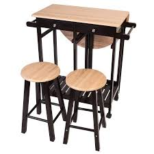 wood kitchen island cart costway 3pc wood kitchen island rolling cart set dinning drop leaf