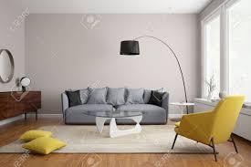salon canapé gris salon moderne scandinave avec canapé gris banque d images et photos