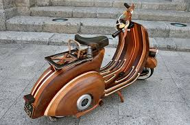 custom wood vespa the awesomer