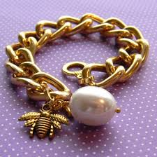 gold bracelet with pearl charm images Items similar to chunky gold chain bracelet with a large pearl jpg