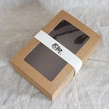 wholesale brown kraft paper boxes with window cake box and