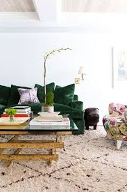 green velvet couch going bold in the living room the fox and she