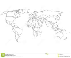 Blank World Map by World Map With Country Borders Stock Vector Image 57815937