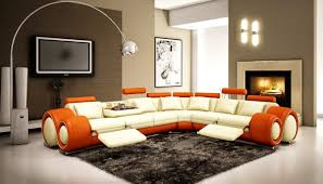 furniture orange white leather sectional sofa with recliner on