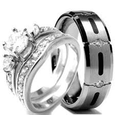 mens wedding rings titanium wedding ring set his and hers titanium and stainless steel size