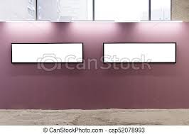blank gallery wall mock up blank picture frames on pink wall in the loft stock