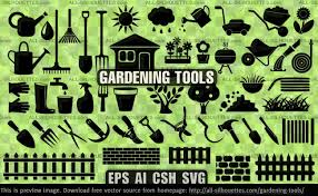 gardening tools all silhouettes