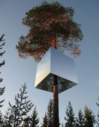 hotel in a tree has camouflage to reflect the forest