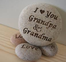 love you mom grandmom custom engraved rock with you text home