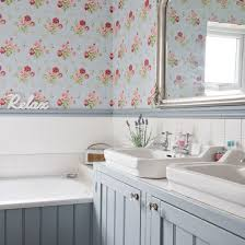 Radio Bathroom Mirror by Pale Blue Floral Bathroom With Floral Wallpaper Large Mirror And