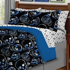5pc boy blue black skull gothic twin comforter set 5pc bed in a