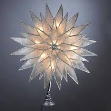 14 lighted capiz sunburst 7point tree topper clear
