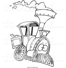 clipart of a black and white steam engine train by toonaday 12687