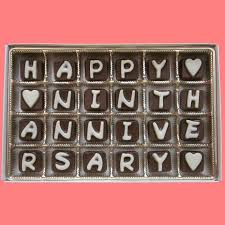ninth anniversary gift happy ninth anniversary cubic chocolate by what candy says on zibbet
